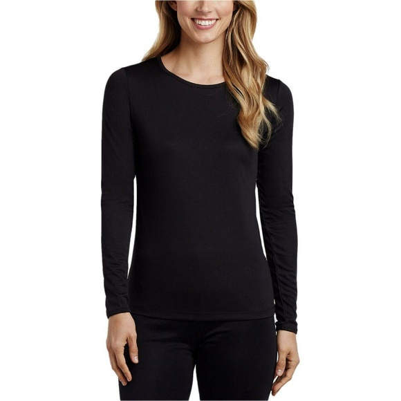 CUDDL DUDS Long Sleeve Crew Top Climatesmart Warm Layers White or Black